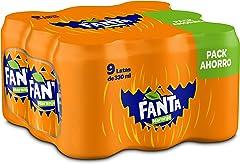 Fanta Naranja - Refresco con 8% de zumo de naranja, bajo en calorías - Pack 9 latas 330 ml