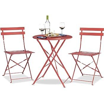 relaxdays bistrotisch mit 2 st hlen klappbar. Black Bedroom Furniture Sets. Home Design Ideas