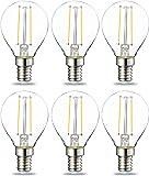 AmazonBasics E14 LED Lampe P45, Tropfenform, 2W (ersetzt 25W), klar, 6er-Pack