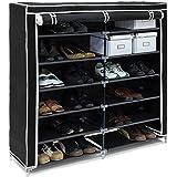 Relaxdays 10019126 Meuble à chaussures VALENTIN Housse tissu étagère armoir chaussures 7 Étages pour environ 36 paires de cha