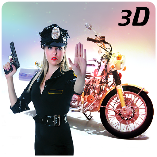 Polizei Bike Racing Simulator 3D-Chase & schießen Kriminalität Stadt Straße Räuber Autos als Polizei Moto Treiber
