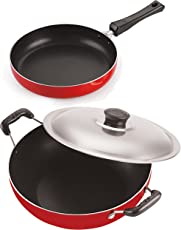 Nirlon Non-Stick Aluminium Base Fry Pan and Deep Kadhai Combo Cookware Offer, 2.6mm_FP10_DKD(M)