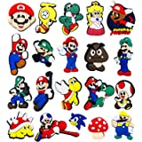 Mario Charms for Crocs Shoe Charms for Kids Teens, Game Party Favors Super Mario Croc Charms for Clogs Bracelet With Holes, 2