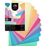 OfficeTree 50 feuilles de papier dans des teintes pastel - enfants Papier DIN A4 pour bricoler et construire - 300 g/m² - 10