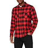 Urban Classics Men's Checked, Casual, Longsleeve Dress Shirt with Forearm Buttons, Regular Fit, 100% Flannel Yarn, Available,