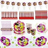 Set de Fiesta de Cumpleaños de Minnie, Cumpleaños Vajilla Set de Fiesta Kids Birthday Mickey, Plato, Servilleta de Papel, Cuc
