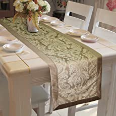 "Lushomes Natural Pattern 3 Jacquard Table Runner with High Quality Polyester Border (Size: 16""x72""), Single Piece"