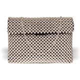 ASTRID Women's Silver Beaded Clutch With Metal Chain Strap