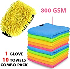 AllExtreme Combo of 10-Piece Double-Sided Chenille Microfiber Car Washing Mitt Dusting Glove and Cloth for Lint and Streak Less Cleaning (MX-011)