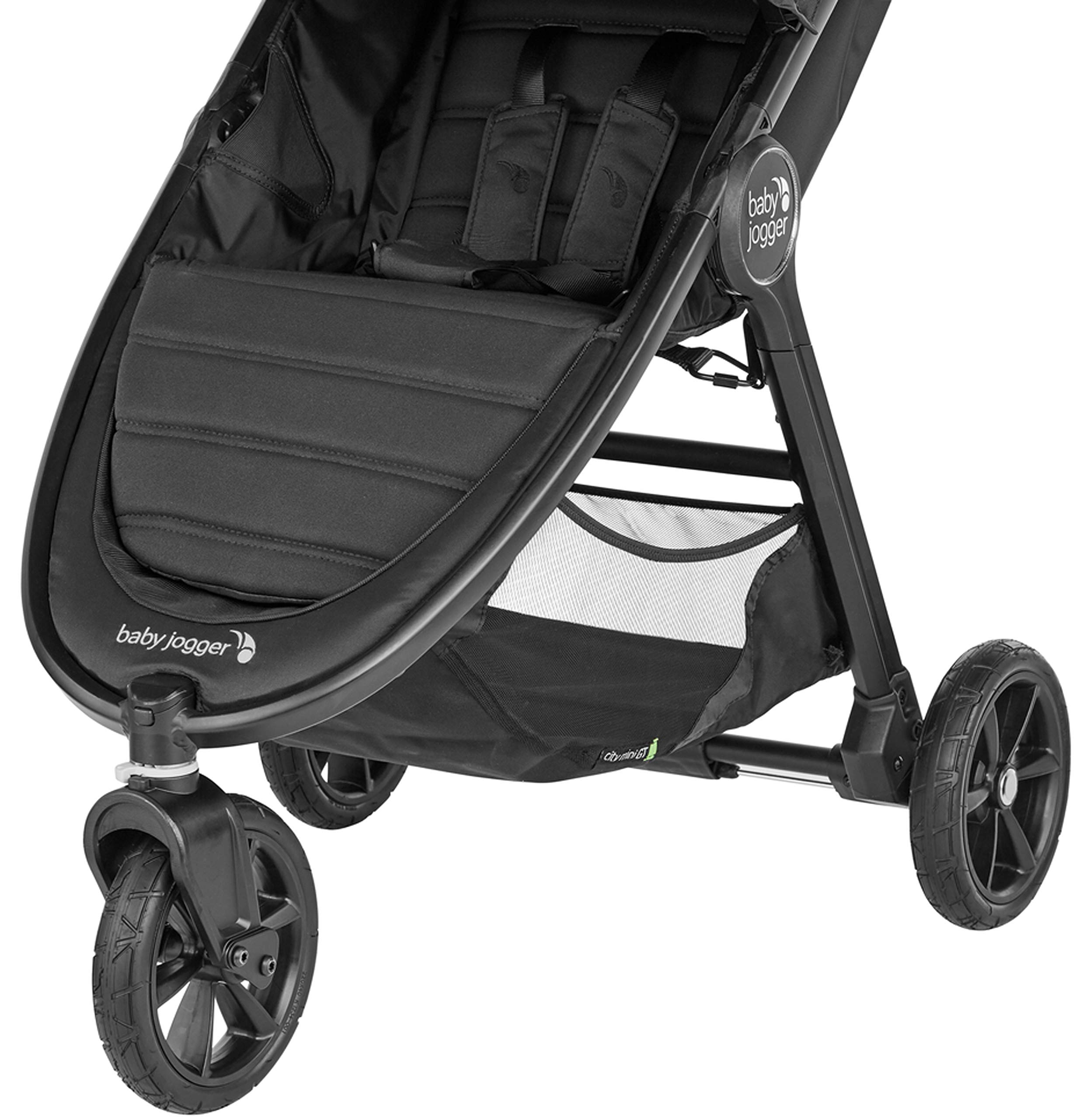 baby jogger City Mini GT2 Single Stroller Jet Baby Jogger The baby jogger city mini GT2 has an all new design, with signature one-hand compact fold, has forever air rubber tyres and all wheel suspension providing uncompromised agility on any terrain Lift a strap with one hand and the city mini GT2, folds itself: simply and compactly. The auto-lock will lock the fold for transportation or storage The seat, with an adjustable calf support and near-flat recline, holds a child weighing up to 22kg and includes a 5-point stroller harness to keep them comfortable and safely secured 2