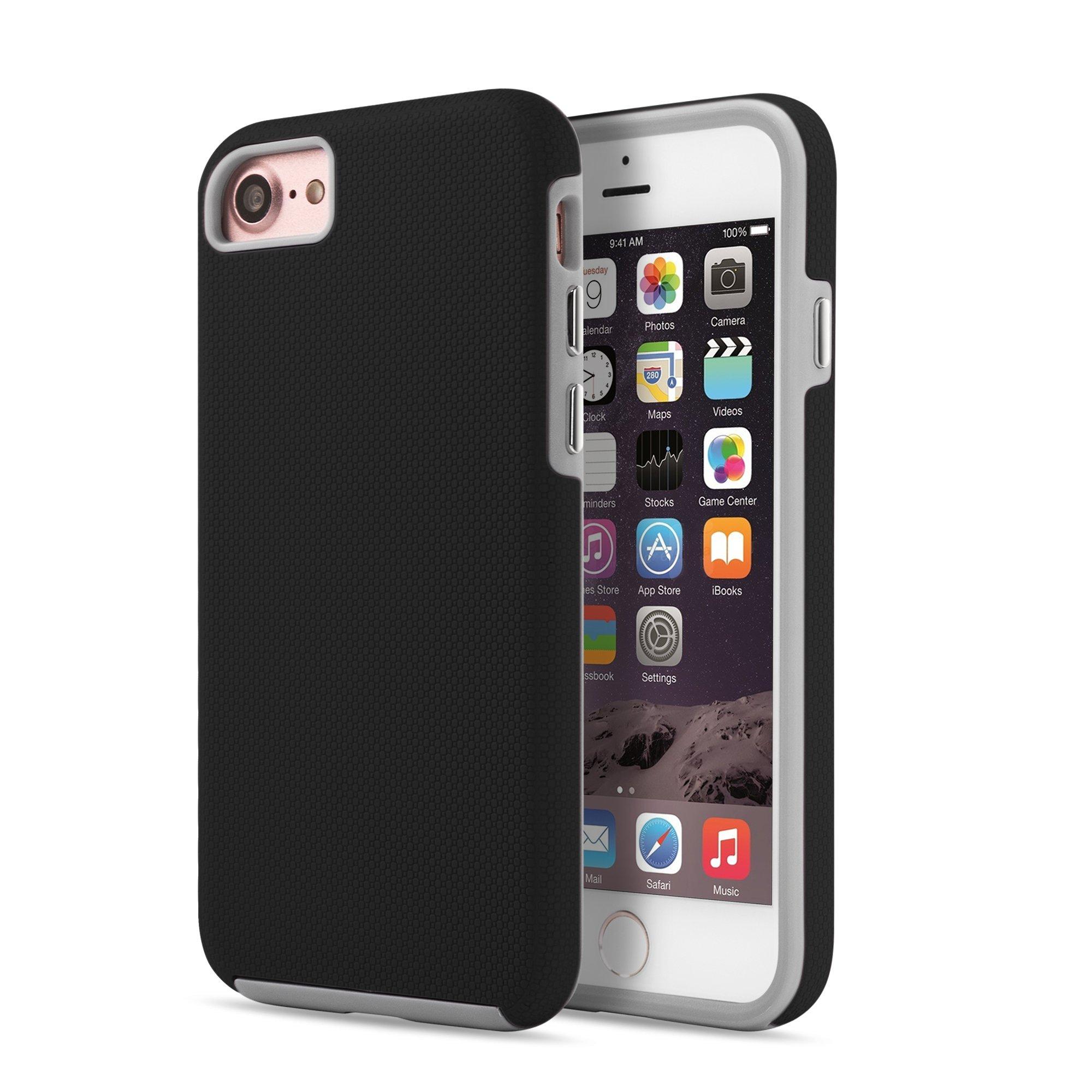 OKCS Anti Skip Caso per Apple iPhone 7 Custodia Protezione Hard Cover - Nero