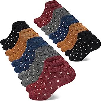 Chaussette Lot de 10 paires Courte pour Femme Socquette avec des Rayeurs et des Points pour Femmes et Filles Basses Motif