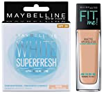 Maybelline New York White Super Fresh Compact, Pearl, 8g+Maybelline New York Fit Me Matte with Poreless Foundation, 220...
