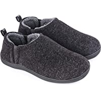 Snug Leaves Men's Fuzzy Wool Felt Memory Foam Slippers Anti-Slip Warm Faux Sherpa House Shoes with Dual Side Elastic…