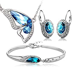 Valentine Gift by Shining Diva Blue Crystal Combo Jewellery of Necklace Set/Pendant Set with Earrings & Bracelet for Girls and Women(Silver) (vgcmb176)
