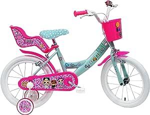 """LOL 16' Vélo 16"""" Fille équipé de 2 Freins, Panier Avant, Porte poupée, gardes Boue et stabilisteurs, Turquoise/Fushia/Blanc"""