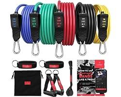 Kit Élastique Musculation Fitness + Guide Exercices, 5X Bandes de Résistance Tubes Professionnels + Poignées, Ancre de Porte,