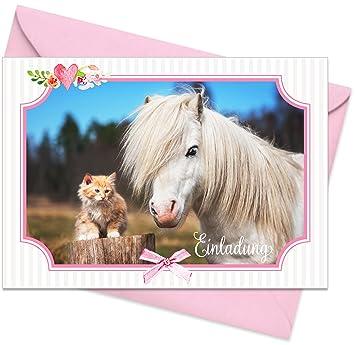 Umschläge): Einladungskarten U201ePferd U0026 Katzeu201c Für Den Kindergeburtstag Oder  Anderen Anlass U2013 Hochwertige Geburtstagseinladungen Für Mädchen, Kinder, ...