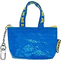Ikea Knölig Frakta Mini Tasche Tüte Reißverschluß blau+Kette für Schlüsselbund