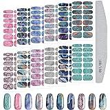 Kalolary 12 Vellen Gradiënt Marmer Volledige Nagelstickers Volledige Wrap Nagelstickers Zelfklevende Nail Art Sticker Strips