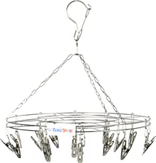 Easyshop Stainless Steel Clothes Hanger with 20 Clip Pegs (Silver, 36 x 36 x 2cm)