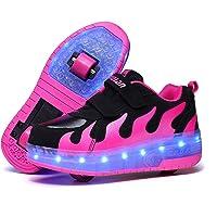 Aizeroth-UK Unisex Bambino LED Scarpe con Rotelle Automatiche Skateboard Formatori Outdoor Multisport Ginnastica…