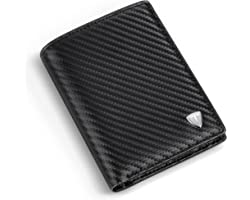 Wallets Mens RFID Blocking Carbon Fibre Leather, Mens Wallets with 9 Credit Card Holders, 1 ID Windows, Coin Pocket, 2 Bankno