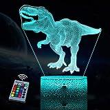 JQGO Luz Nocturna Infantil, Luces nocturnas Ilusión 3D Dinosaurio para niños con mando a distancia y 16 colores cambiantes y