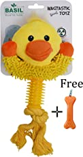 Goofy Tails- Basil Duck Face with Rope & Squeak Plush Toy with Key Chain