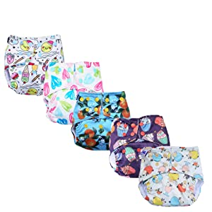 superbottoms 5 Basic Assorted Prints Pocket Diapers (Only Diaper Shells, no Inserts Included, One Size Adjustable Sizes-4 in 1/5-17 kg)