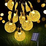 flintronic Cadena de Luces Led Solar, Guirnaldas Luces Exterior, 36ft/11m 60LED Guirnalda Solar LED Bola de Cristal Luces Dec