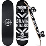 Beleev Skateboards for Beginners, 31 Inch Complete Skateboard for Kids Teens Adults, 7 Layer Canadian Maple Double Kick Deck