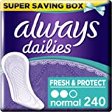 Always Dailies Fresh and Protect Panty Liners Normal x 60, Super Saving Box, 4 Packs of 60 Count (Total 240 Count)