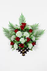 Om Plastic Artificial flowers for decoration of christmas and party wall hanging(10 rose, 8 marigold)