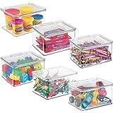 mDesign Bac à jouet pratique – box de rangement jouet avec couvercle pour ranger des jouets sur une étagère ou sous le lit –