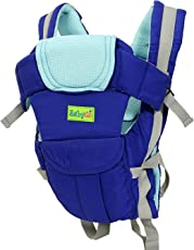 BabyGo Soft 4-in-1 Baby Carrier with Comfortable Head Support and Buckle Straps (Blue)