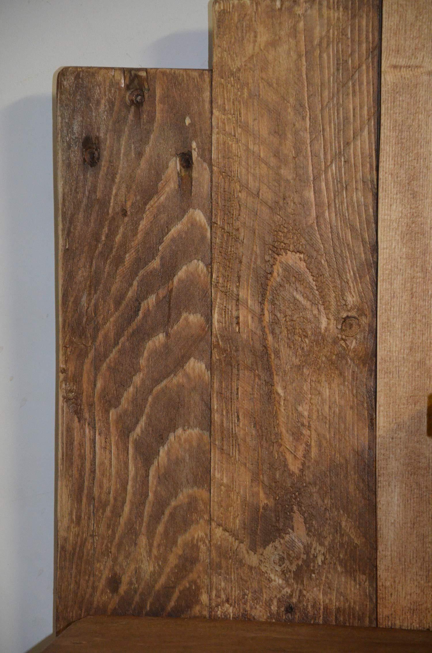 Libreria in legno riciclato, portafoto marrone sospeso con ...