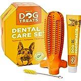 Natural Dog Treats Spazzolino de Denti e Dentifricio Set per Cani, Pulizia Dentale 100% Naturale Gomma Giocattolo da Masticar