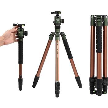 Fotopro professionale fotocamera treppiede in alluminio, compatto e portatile monopiede treppiede per fotocamera e DSLR Nikon, Sony, Canon, Pentax, con borsa per il trasporto, nero.
