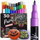 Artistro marqueur Acrylique stylos acryliques - 30 Couleurs Marqueurs Peinture Acrylique - Feutre Acrylique Pointe Fine 0.7mm