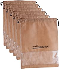 SHOESHINE INDIA Non-woven Material and PVC Dustproof Shoe Bag (12x16-inch, Brown) - Pack of 6