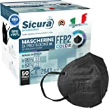 50 Mascherine FFP2 Certificate CE nere Made in Italy con Elastici Neri logo SICURA impresso BFE ≥99% Mascherina ffp2 italiana