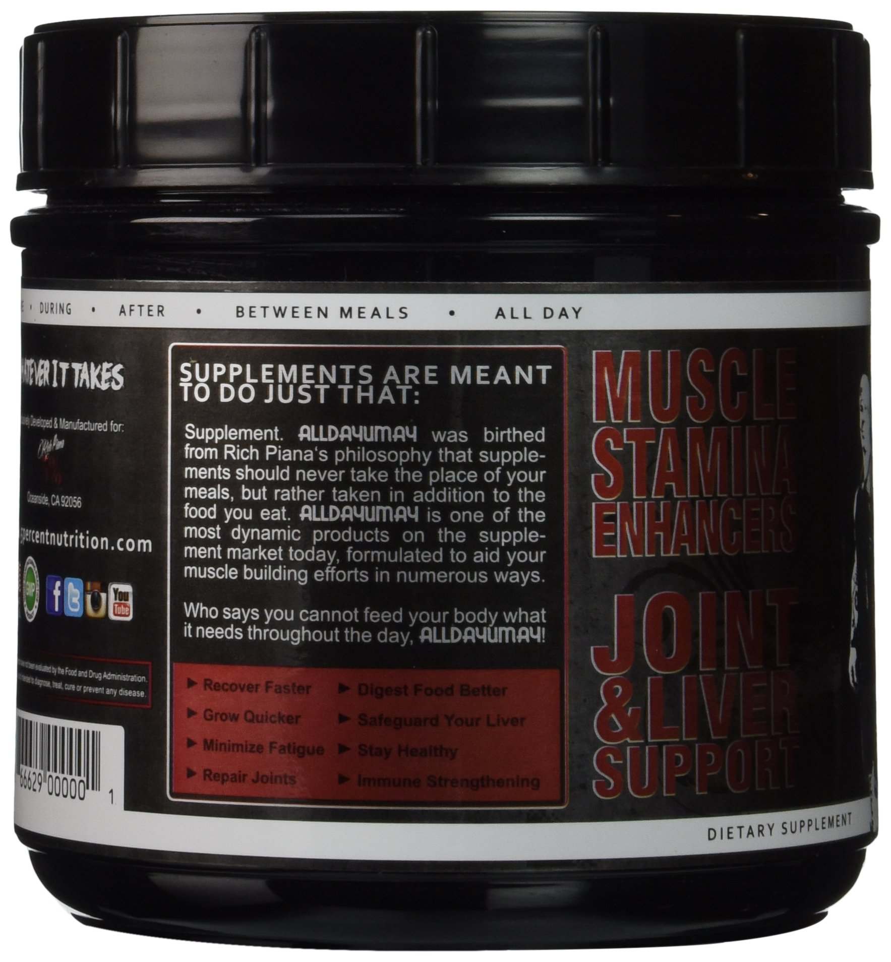 8104Y0vki4L - 5% Nutrition - Rich Piana All Day You May, Fruit Punch, PER1001/462/101