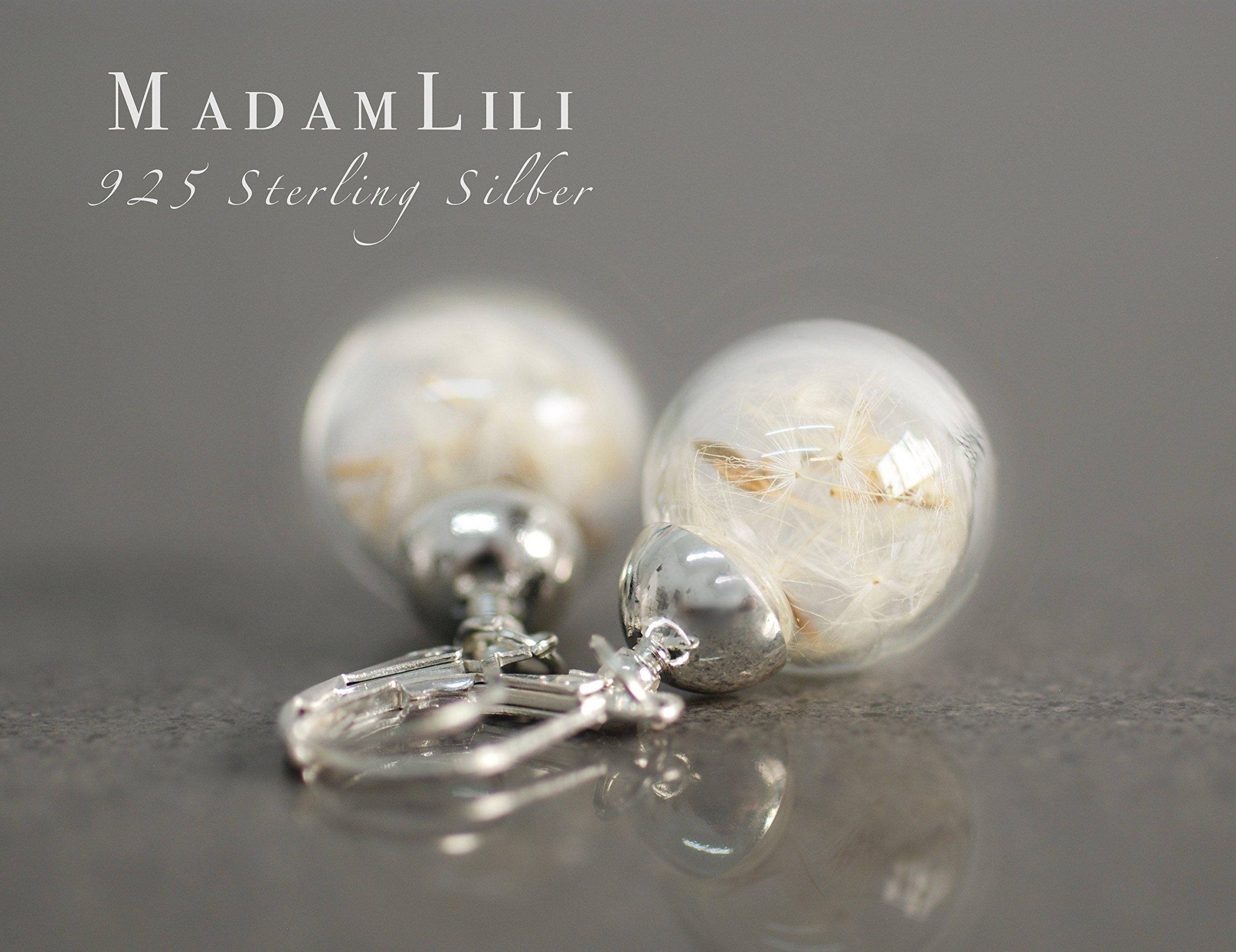 Ohrringe 925 Sterling SIlber - Echte Pusteblume - Hängend - Verschluss mit Ohrstopper