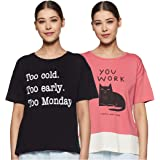 Amazon Brand - Eden & Ivy Women's T-Shirt Regular Fit Top (Pack of 2)