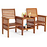 VonHaus Garden Love Seat Bench – 2 Seater Hardwood Outdoor Patio Furniture Set with Built-in Parasol Hole