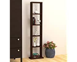 BLUEWUD Walten Engineered Wood Free-Standing Book Shelf/Display Rack 6 Shelves (Wenge Finish)