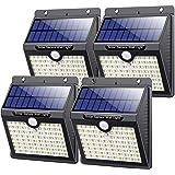 Luce Solare LED Esterno, [4 Pezzi 2000mAh] kilponen 80 LED Super Luminosa Lampada Solare con Sensore di Movimento Luci Solari