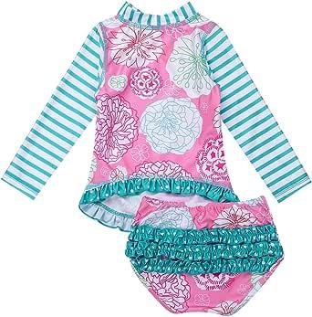 YiZYiF Toddler Baby Girls 2-Piece Swimsuit Flower Ruffles Sun Protection Swimwear Rash Guard Sets