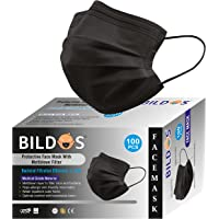Bildos® Non-Woven Fabric 3 Layer Disposable Surgical Face Mask With Nose Clip CE, GMP & ISO Certified Masks (Black) For…